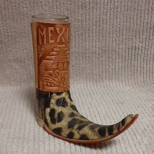 Handmade Mexican boot tequila shot glass